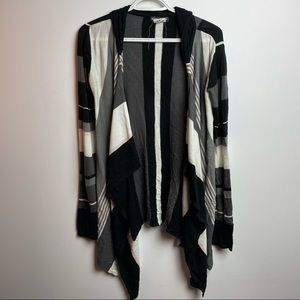 Long sleeve open cardigan with hood size small